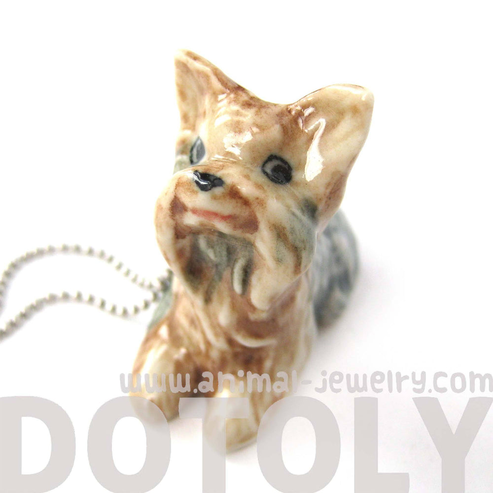 Yorkshire Terrier Baby Puppy Dog Porcelain Ceramic Animal Pendant Necklace | Handmade | DOTOLY