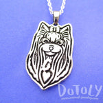 Yorkshire Terrier Puppy Dog Portrait Pendant Necklace in Silver | Animal Jewelry | DOTOLY