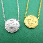 You Make Me Happy Love Quote Pendant Necklace in Silver or Gold