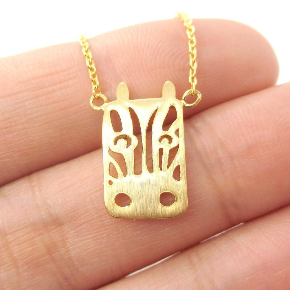 Zebra Face Cut Out Shaped Pendant Necklace in Gold | Animal Jewelry | DOTOLY