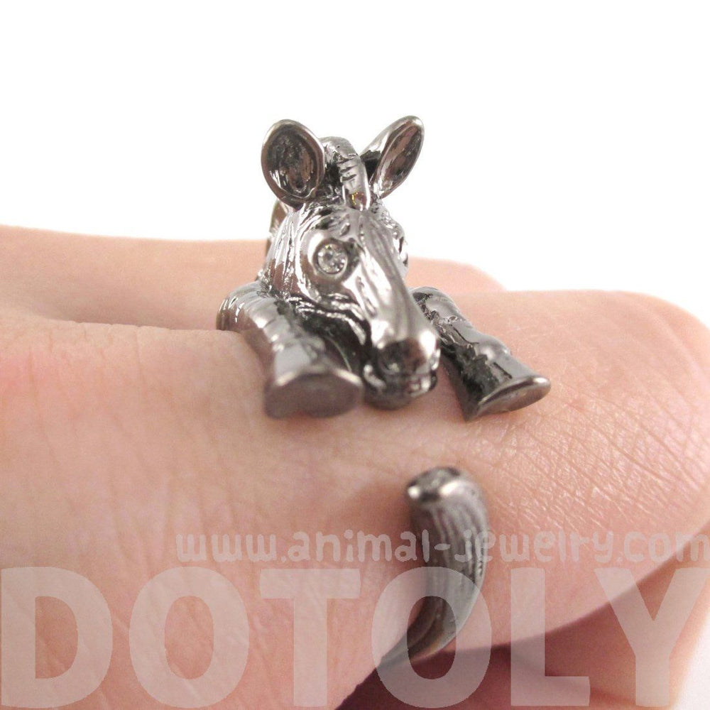 Zebra Shaped Animal Wrap Around Ring in Gunmetal Silver | US Sizes 4 to 9 | DOTOLY