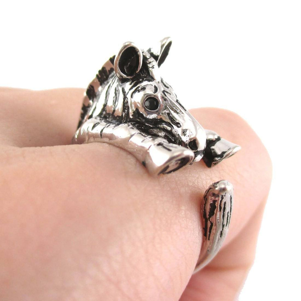 Zebra Shaped Animal Wrap Around Ring in Shiny Silver | US Sizes 4 to 9 | DOTOLY