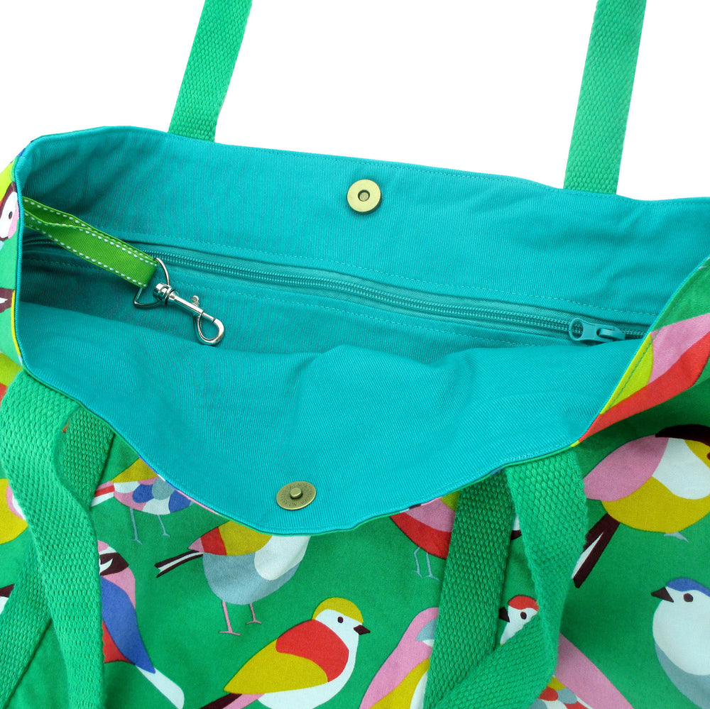 Bright Green Colorful Bird Animal Pattern Large Utility Market Tote Bag