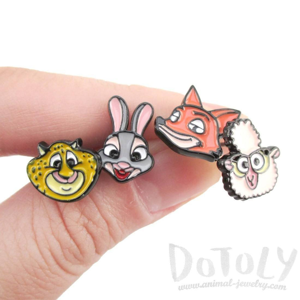 Zootopia Bunny Fox Cheetah Sheep Shaped Stud Earrings | DOTOLY | DOTOLY