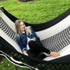 Large Spreader Bar Double Hammock- Black & White