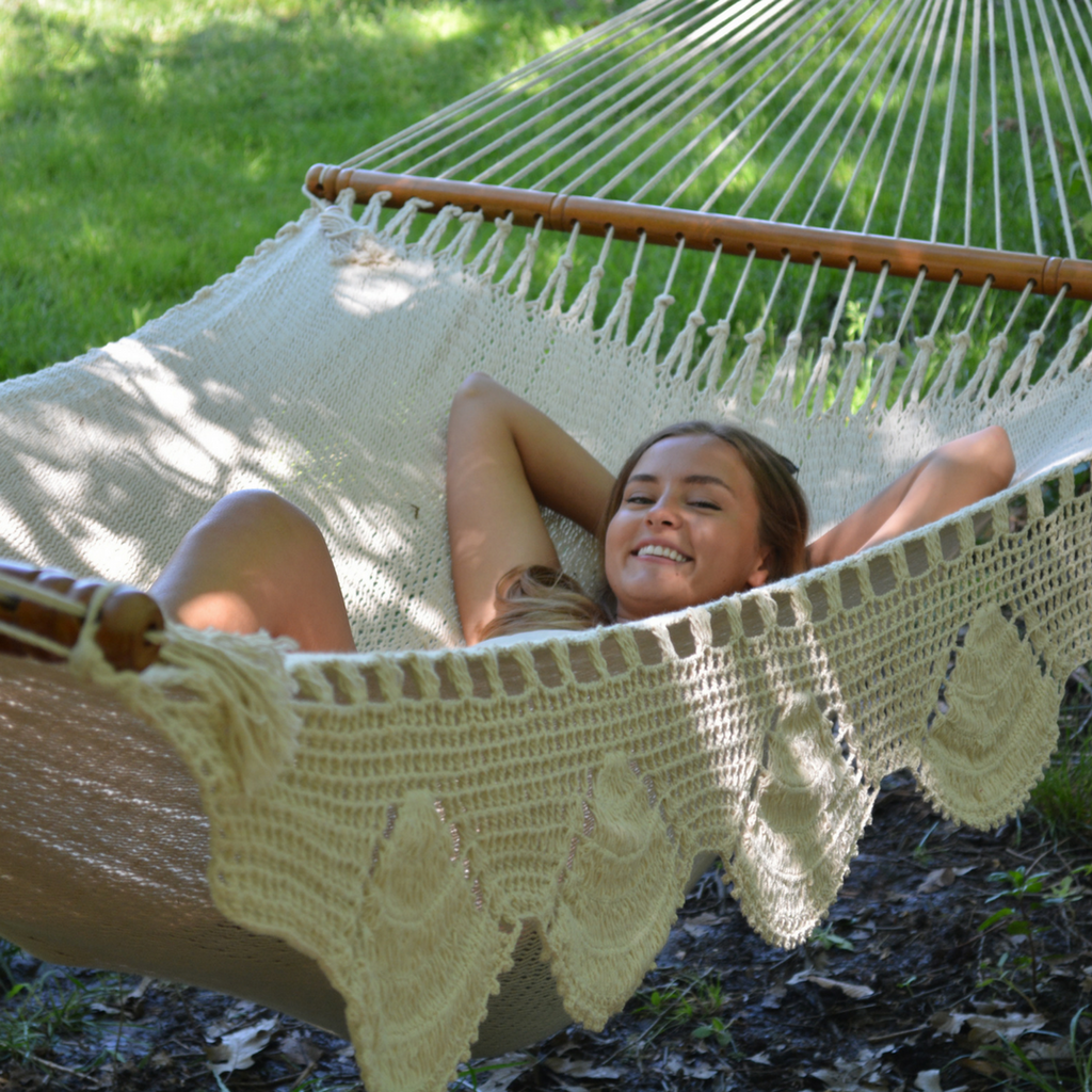 Large Spreader Bar Double Hammock- Natural