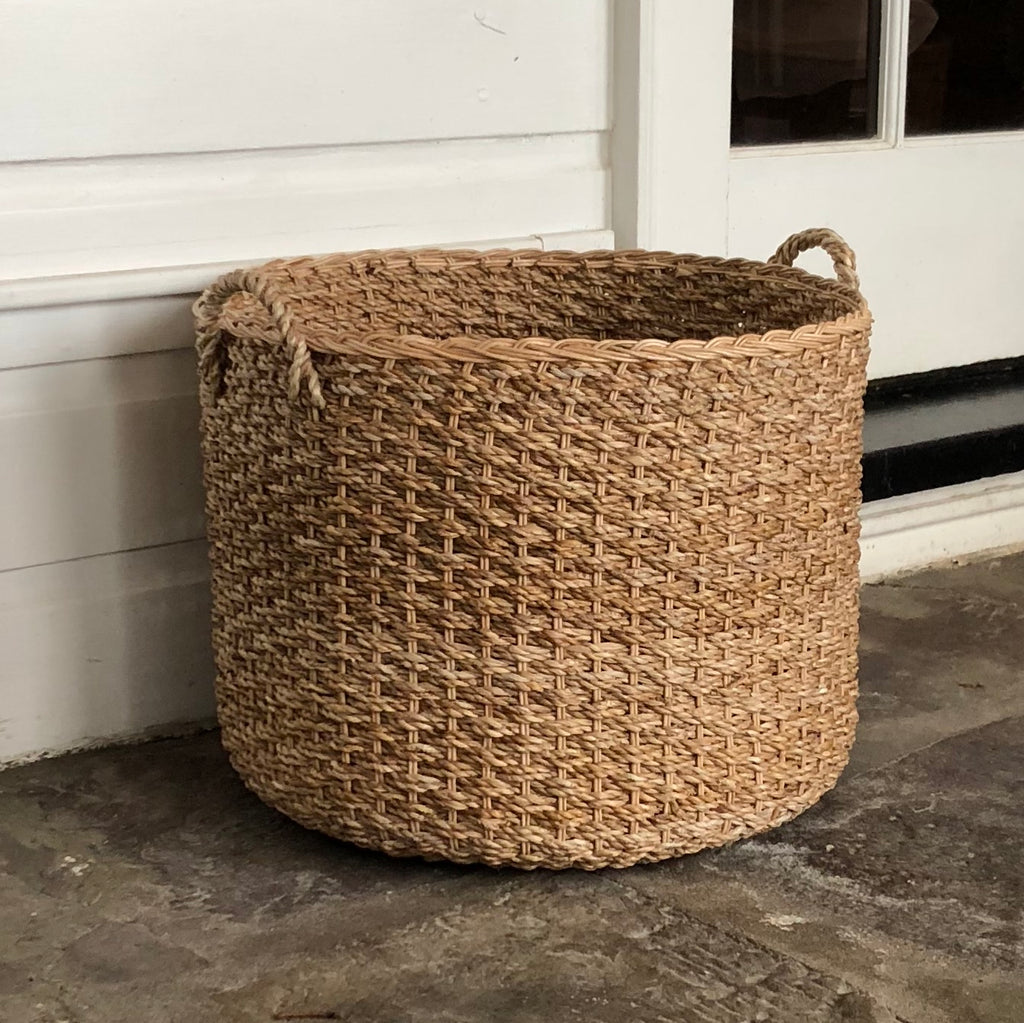 Handwoven Wicker Banana Leaf Floor Basket with Handles