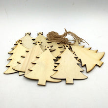 "10 Pcs Christmas Wood Chip Ornaments ""Christmas Tree, Angel, Snowman"""