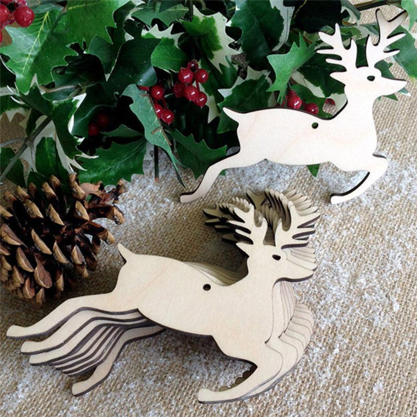 10 Pcs Christmas Wood Chip Ornaments