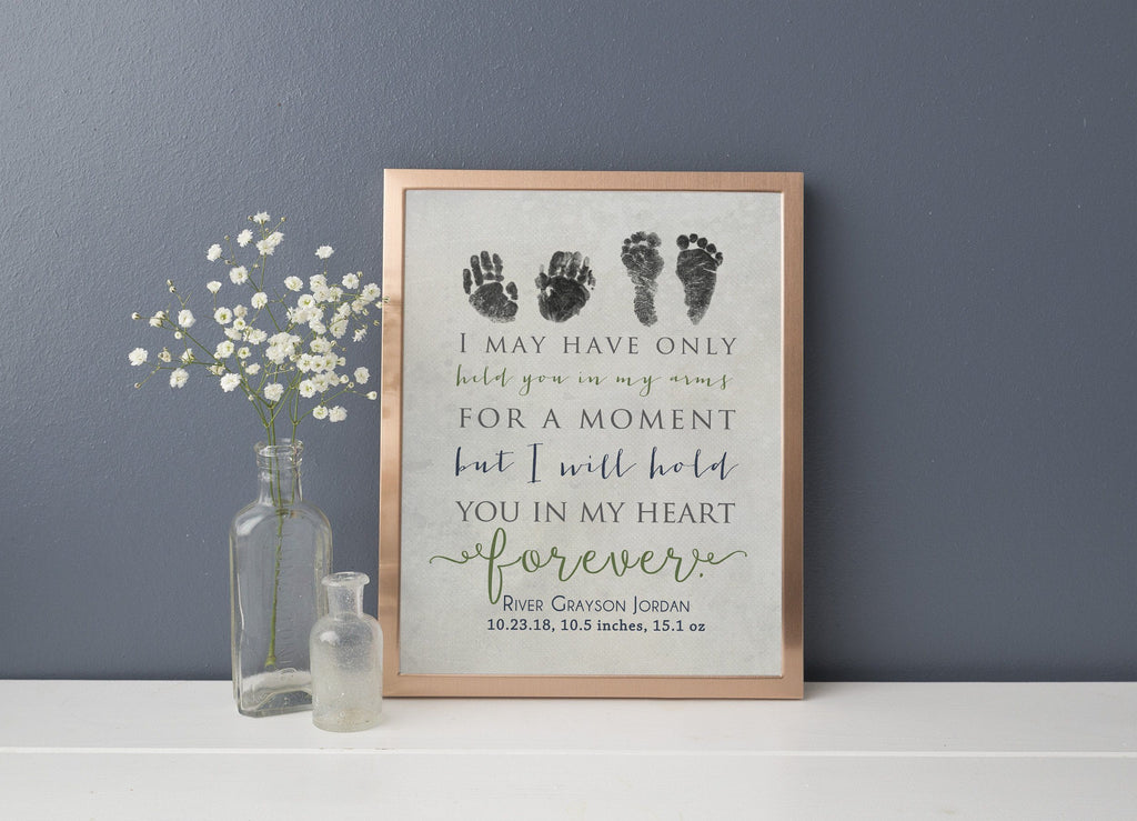 "Infant loss memorial print with baby hand prints and footprints above a quote, ""I may have only held you in my arms for a moment but I will hold you in my heart forever."""
