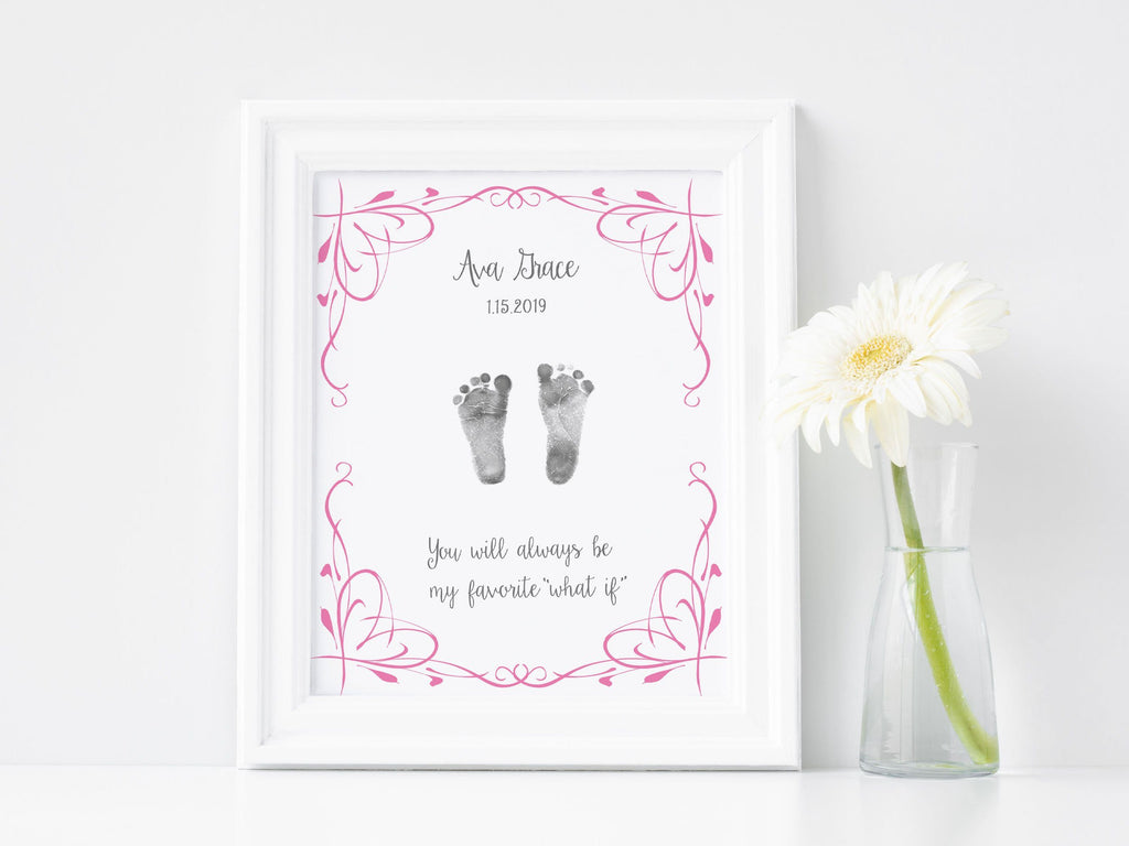 Baby Footprint Art Print with Actual Footprints - My Favorite What If Print A Beautiful Remembrance Printed by our lab & shipped to you 5x7