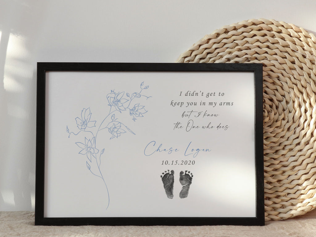 Baby Footprint Art Print with Actual Footprints & Quote Print A Beautiful Remembrance