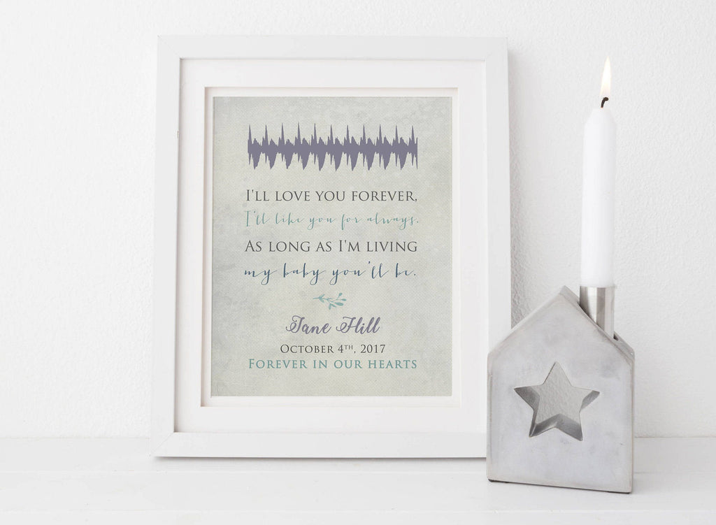 Baby Heartbeat Soundwave Print - I'll Love You Forever Print A Beautiful Remembrance