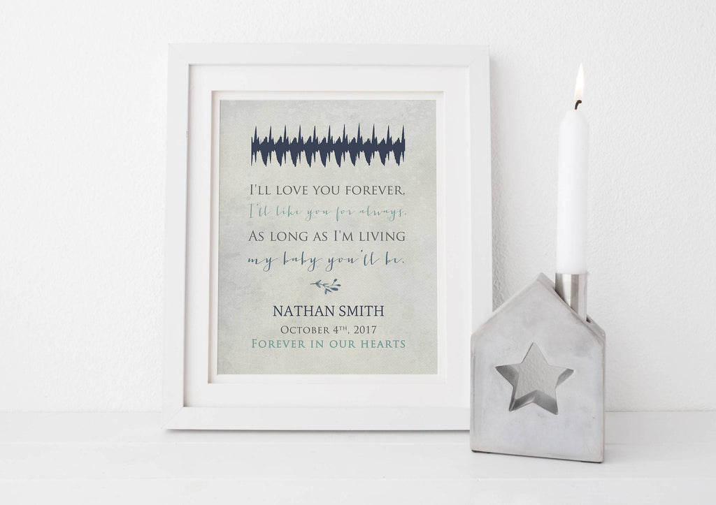 Baby Heartbeat Soundwave Print - I'll Love You Forever Print A Beautiful Remembrance Printed by our lab & shipped to you 5x7