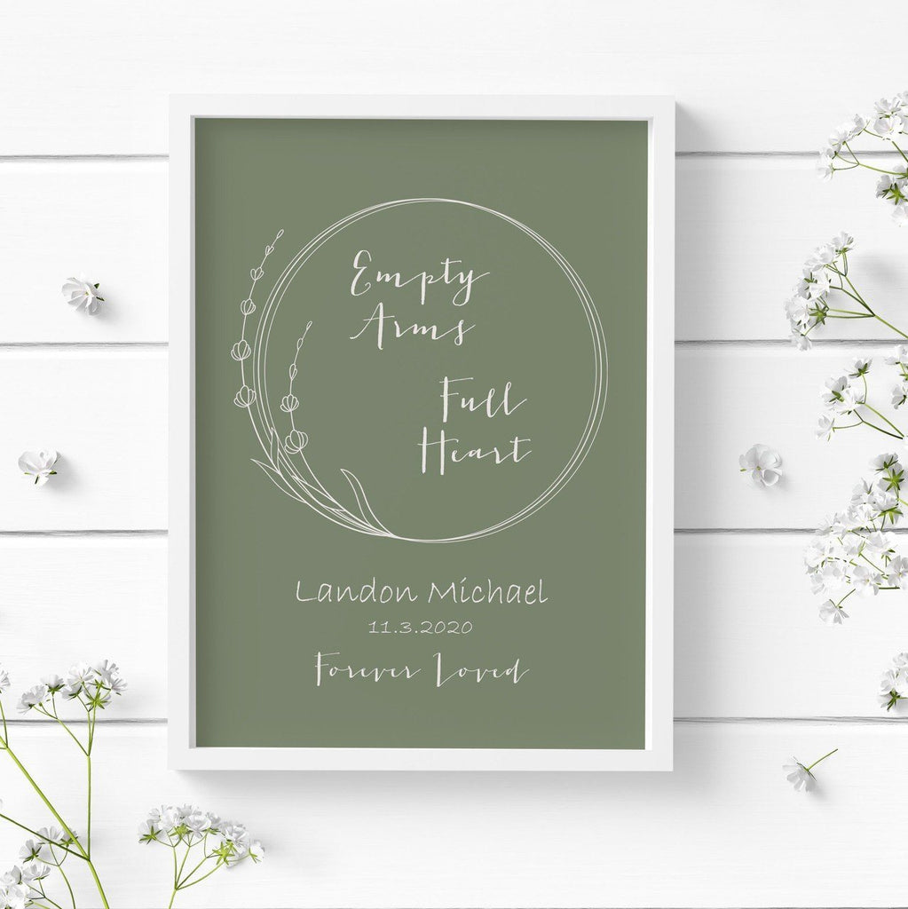"Baby Loss Personalized Print - Quote ""Empty Arms - Full Heart"" Print A Beautiful Remembrance"