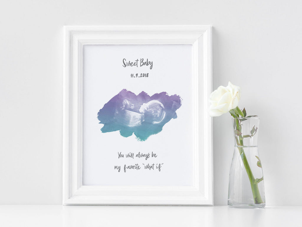 Baby Ultrasound Print, Sonogram Art - My Favorite What If Print A Beautiful Remembrance Printed by our lab & shipped to you 5x7
