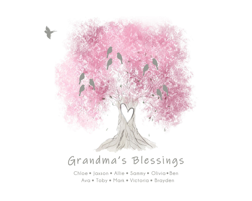 Grandparent Family Tree Print, Infant Loss Keepsake, Baby Memorial Gift Print Print A Beautiful Remembrance