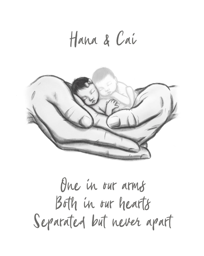 One Twin Lost - Asian Babies Print A Beautiful Remembrance