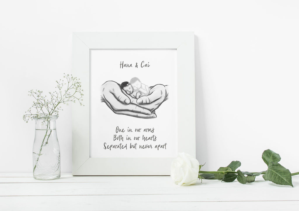 One Twin Lost - Asian Babies Print A Beautiful Remembrance Printed by our lab & shipped to you 5x7