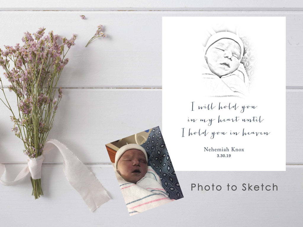 Photo to Sketch Custom Order Print A Beautiful Remembrance Printed by our lab & shipped to you 5x7