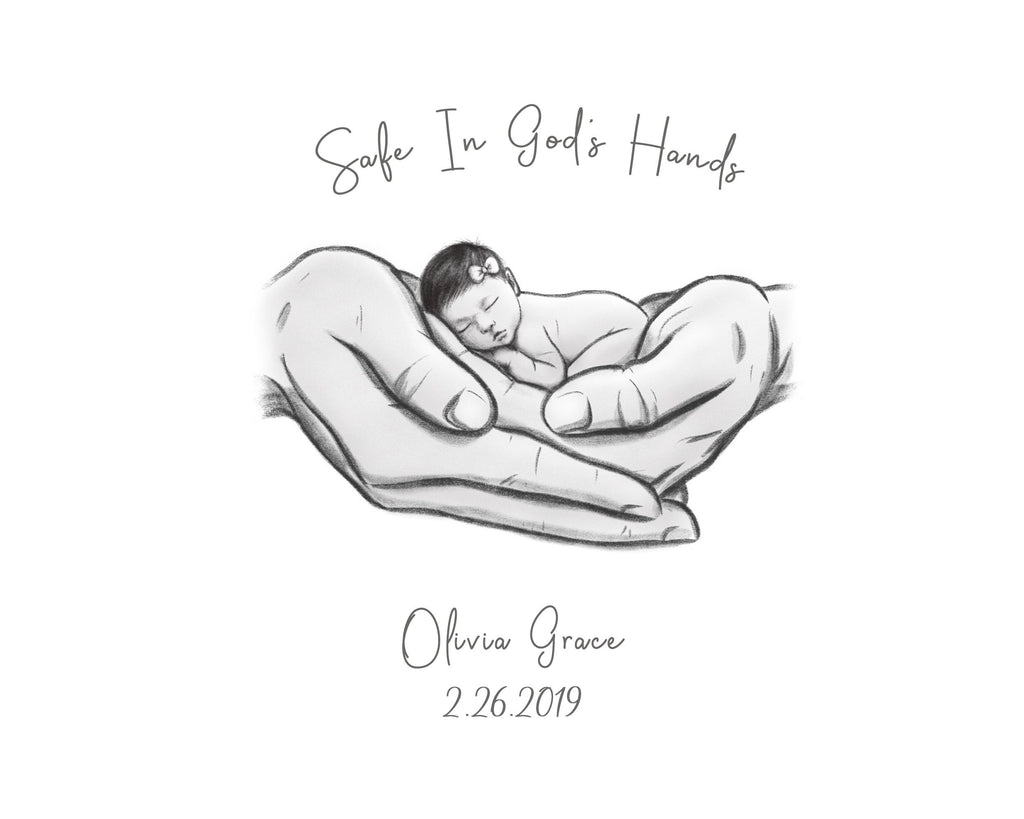 Safe in God's Hands - Asian Baby Print A Beautiful Remembrance