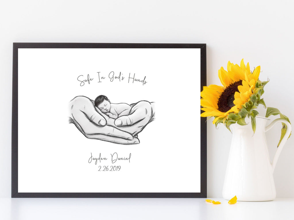 Safe in God's Hands - Asian Baby Print A Beautiful Remembrance Printed by our lab & shipped to you 5x7