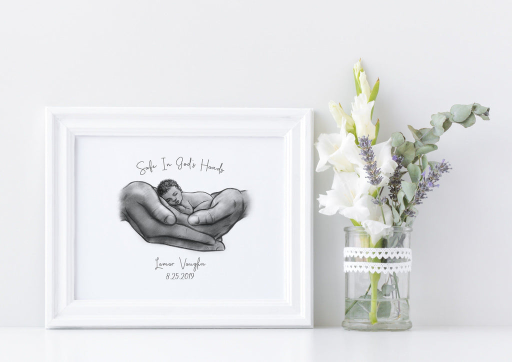 Safe in God's Hands - Black Baby Print A Beautiful Remembrance Printed by our lab & shipped to you 5x7