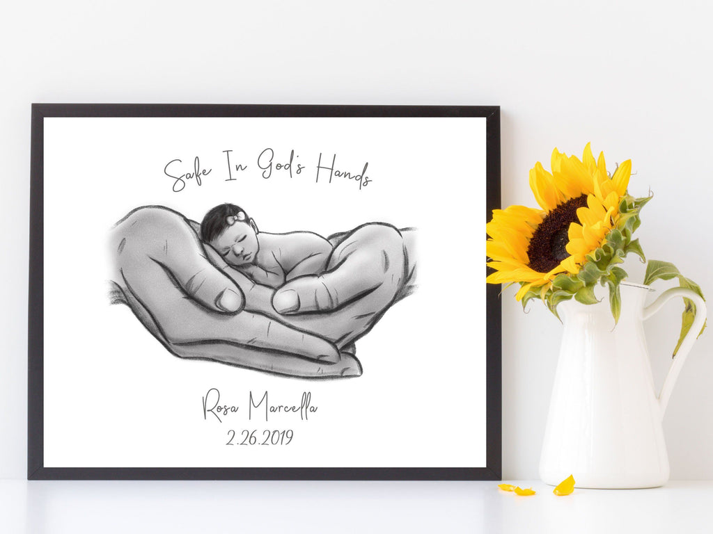Safe in God's Hands - Hispanic Baby Print A Beautiful Remembrance Printed by our lab & shipped to you 5x7