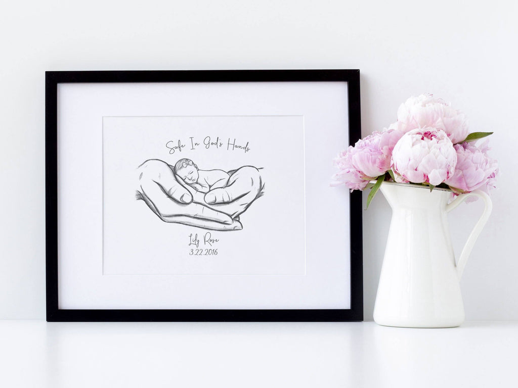 Safe in God's Hands Print A Beautiful Remembrance Printed by our lab & shipped to you 5x7