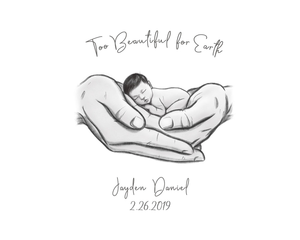 Too Beautiful for Earth - Asian Baby Print A Beautiful Remembrance