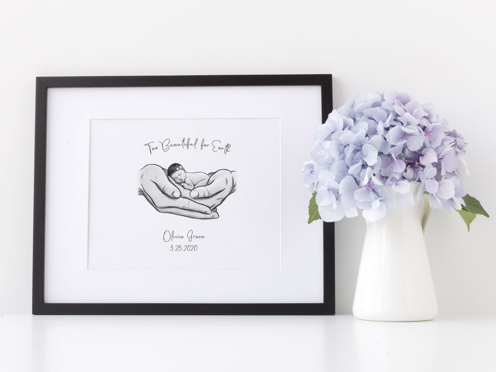 Too Beautiful for Earth - Asian Baby Print A Beautiful Remembrance Printed by our lab & shipped to you 5x7