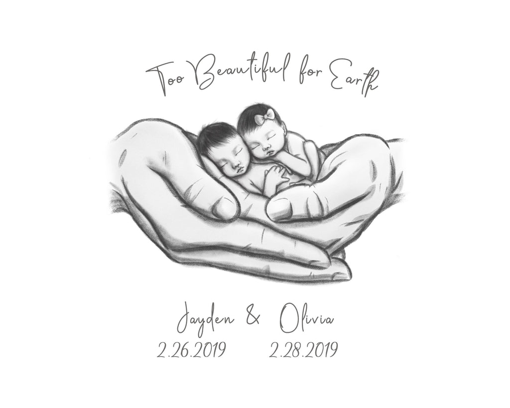 Twin Asian Babies - Too Beautiful for Earth Print A Beautiful Remembrance
