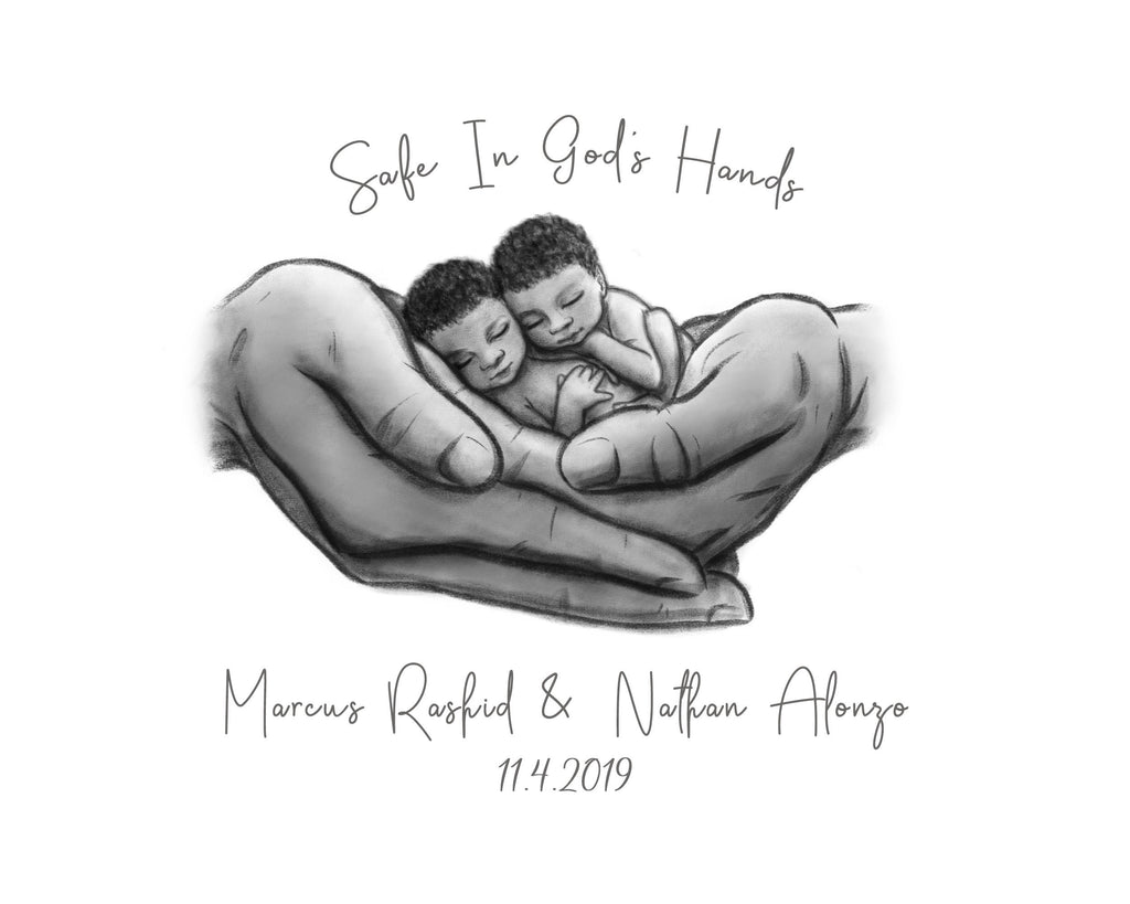 Twin Black Babies - Safe in God's Hands Print A Beautiful Remembrance