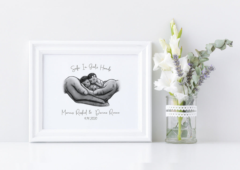 Twin Black Babies - Safe in God's Hands Print A Beautiful Remembrance Printed by our lab & shipped to you 5x7