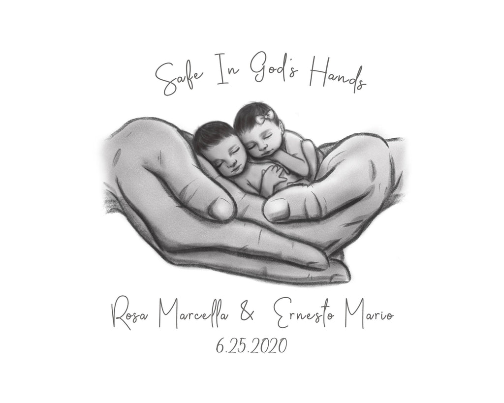 Twin Hispanic Babies - Safe in God's Hands Print A Beautiful Remembrance