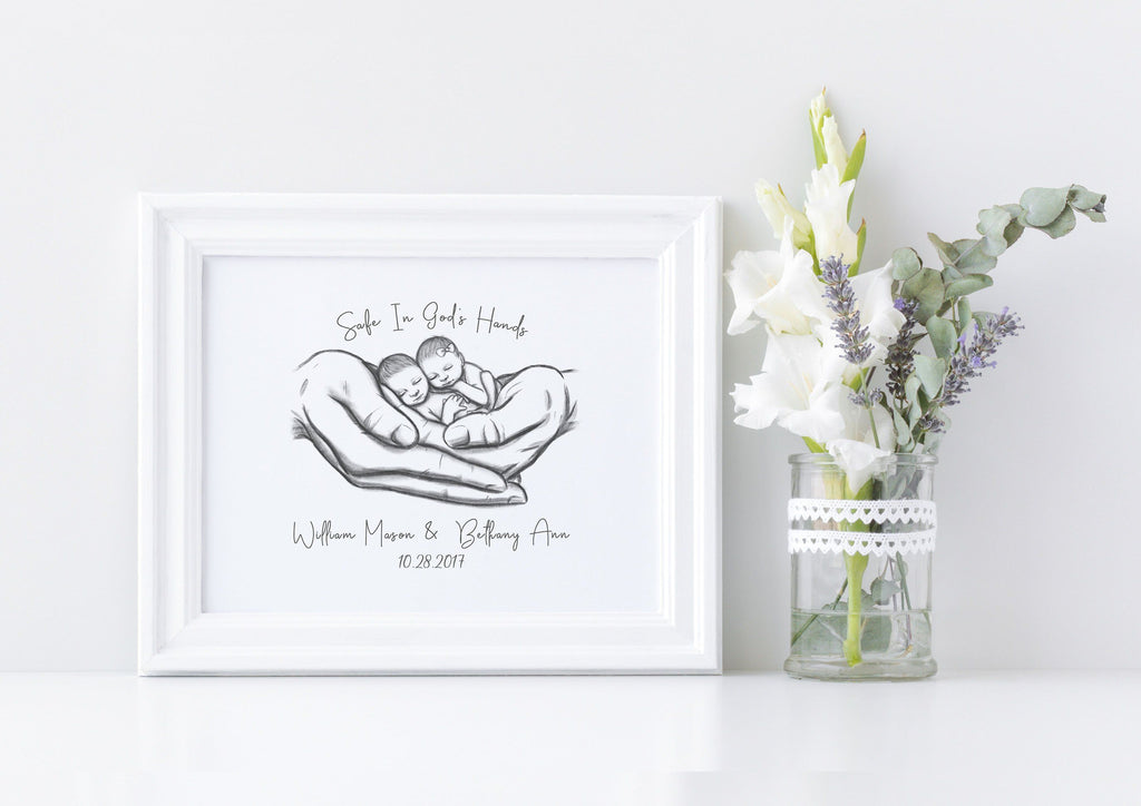 Twins - Safe in God's Hands Print A Beautiful Remembrance Printed by our lab & shipped to you 5x7