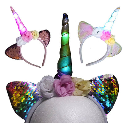 Girls LED Unicorn Headband with Flowers and Filp Sequins Ears Light Up