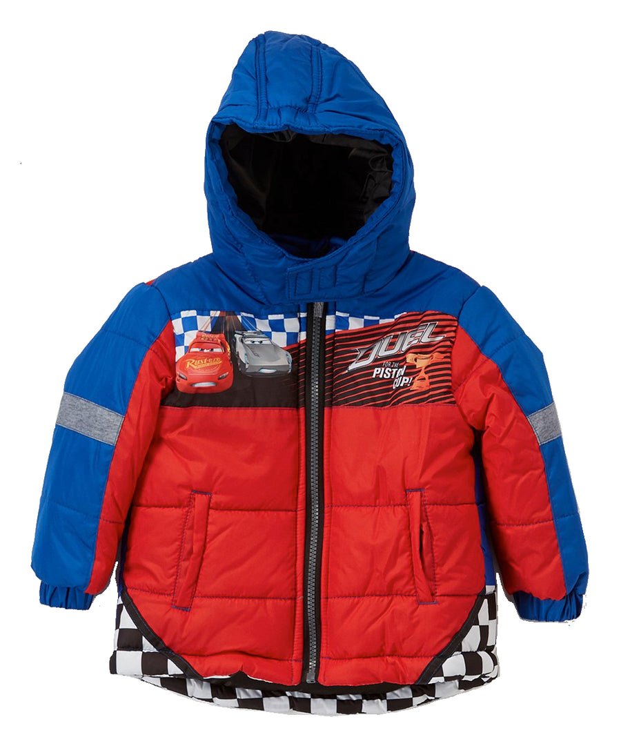 Cars Boys' Puffer Jacket Disney Toddler Hooded Winter Coat, 2T-5T, Blue/Red