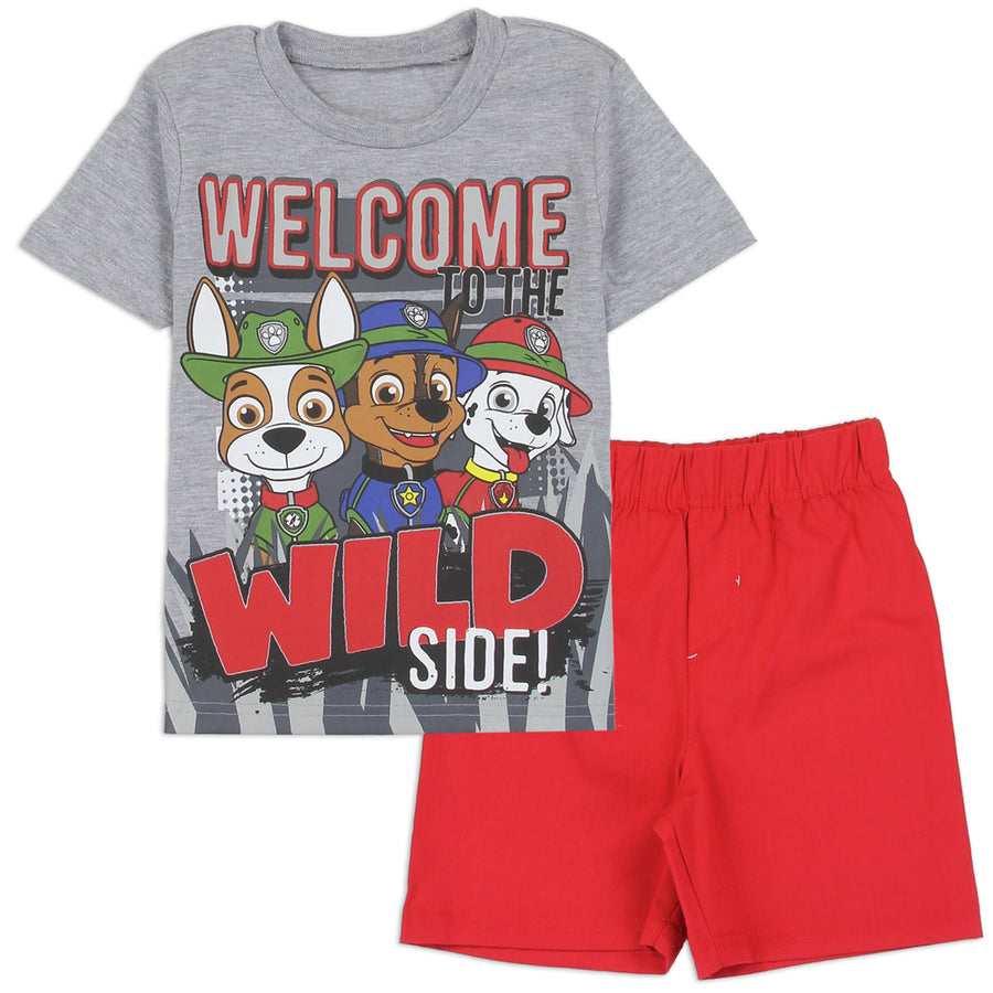 Paw Patrol Toddler Boys' T-Shirt and Short Clothing Set, Red/Grey