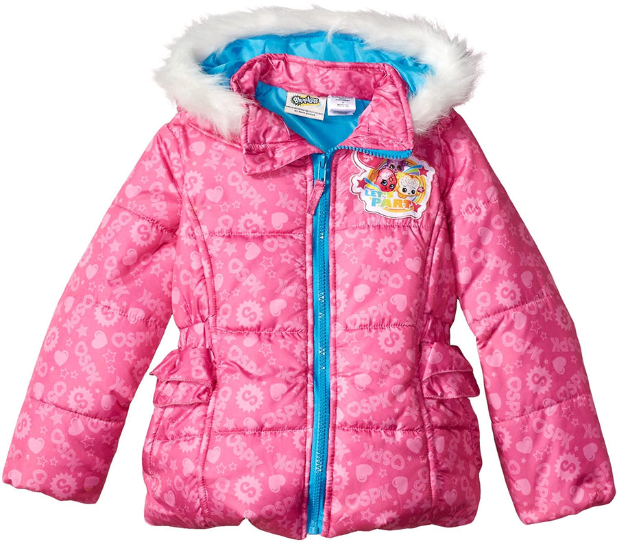 Shopkins Girls' Puffer Jacket Hooded Winter Coat, 4-6X, Hot Pink