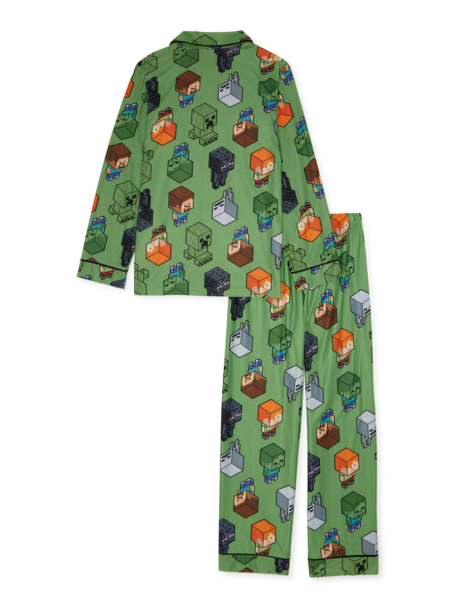 Minecraft Boys' Pajama Coat Set 2-Piece Size 4-12 Green