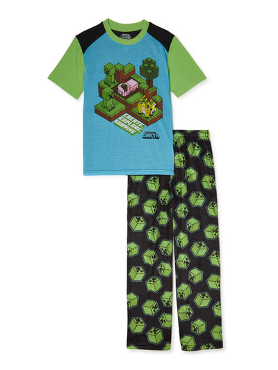 Minecraft Boys' Short Sleeve Pajama Set, 2-Piece, Sizes 6-16