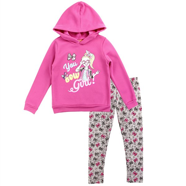 Jojo Siwa Girls' Hoodie & Legging Set 2PC Jojo Fleece Outfit, Fuchsia