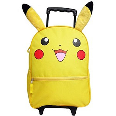 "Pokemon Pikachu Deluxe 16"" Large Rolling Backpack With Lunchbox For Boys or Girls, Yellow - Multi Value Bundle"