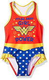 Warner Bros. Toddler Girls' Wonder Woman 1pc Swimsuit, Candy Red, 2T