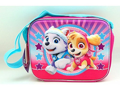 Nickelodeon PAW Patrol Girls' Deluxe 3D Lunch Bag with Long Strap Has Skye & Everest Graphics In Pink