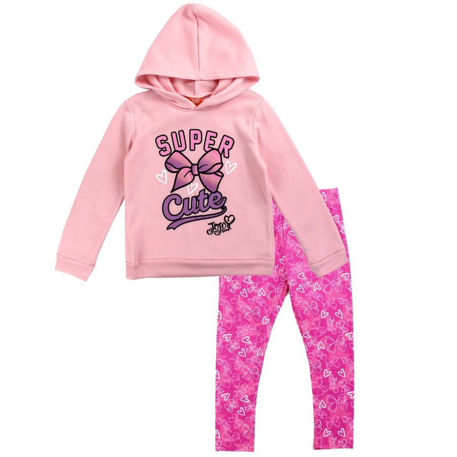 Jojo Siwa Girls' Hoodie & Legging Set 2PC Jojo Fleece Outfit, Pink