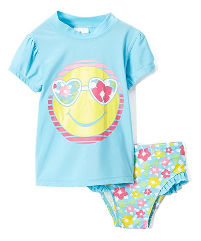 Baby Girls' Rashguard and Bikini Bottoms 2-Piece Set, Colors: Pink, Bubblegum Pink, Coral & Turquoise