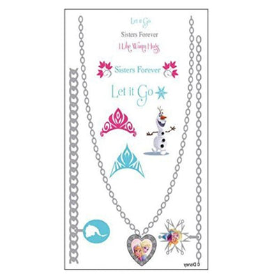 Disney Frozen Metallic Jewelry Temporary Tattoos Elsa, Anna & Olaf - Set of 2