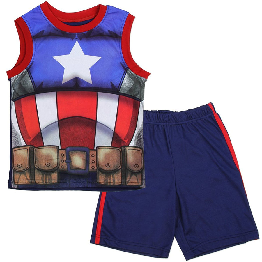 Marvel Avengers Super Heroes 2-Piece Tank Top and Short Set Size: 5 & 6, Red/Blue